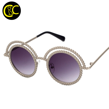 New Brand Designer Round Sunglasses Small Pearl Vintage Retro John Lennon Glasses Women CC5099