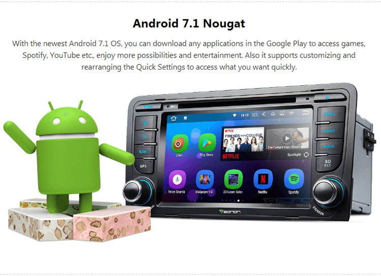 Eonon GA8157 for Audi A3/S3(2003-2011) Android 7.1 Quad-Core 2GB RAM 7 inch Touchscreen Multimedia Car DVD GPS Navigation