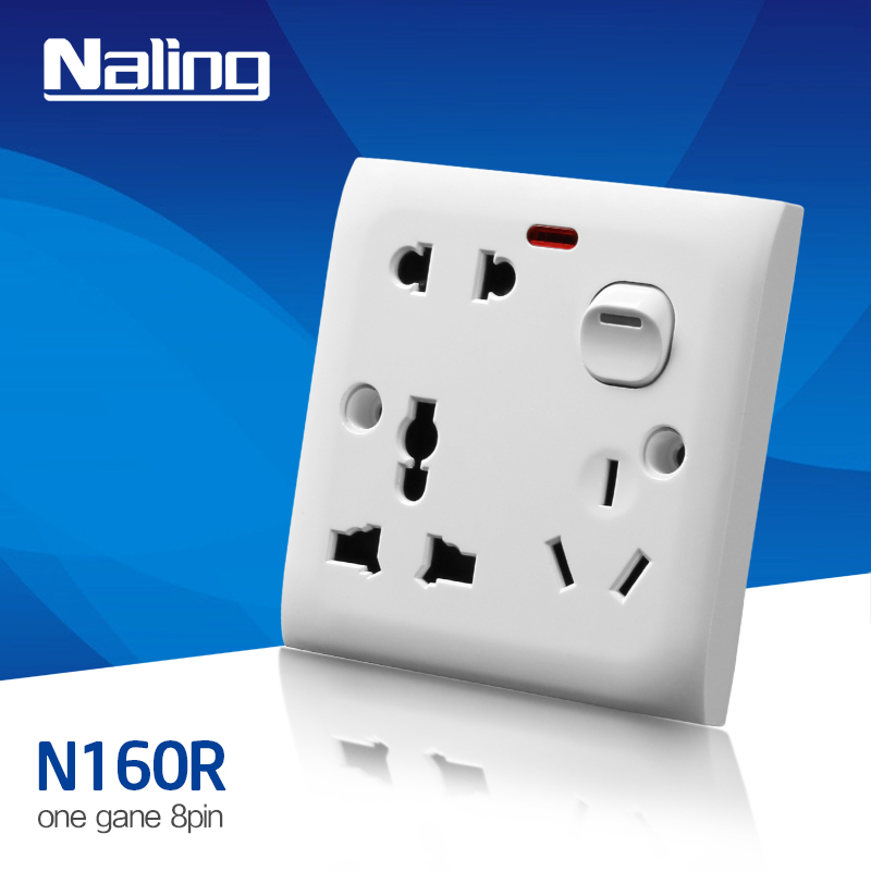 multi 3 pins plug and UK 3 pins socket with neon multi 8 pins sockets