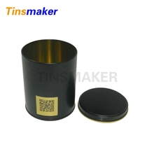 Black tin can, round tea tin box