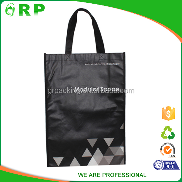 ISO/BSCI Special design black portable no printing non woven shopping bag