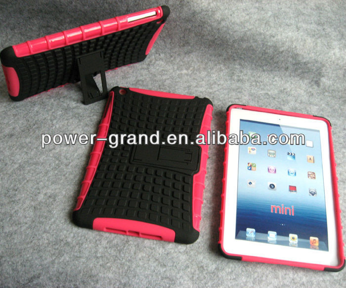 For iPad Mini hybrid case, PC and TPU with kickstand, 50pcs to start
