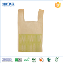 Customized printed kraft T-shirt bag with handle HDPE recyclable