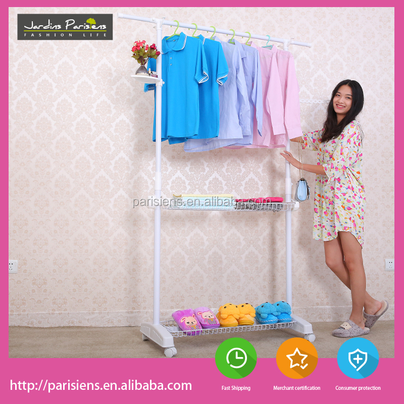 Multifunctional movable telescopic clothes rack / clothes drying rack for indoor and outdoor