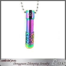 Rainbow Filigree Stainless Steel Aroma Necklace Diffuser Vial Pendant