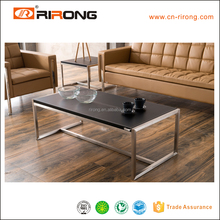 Modern SS frame coffee table with leather top item ZZT