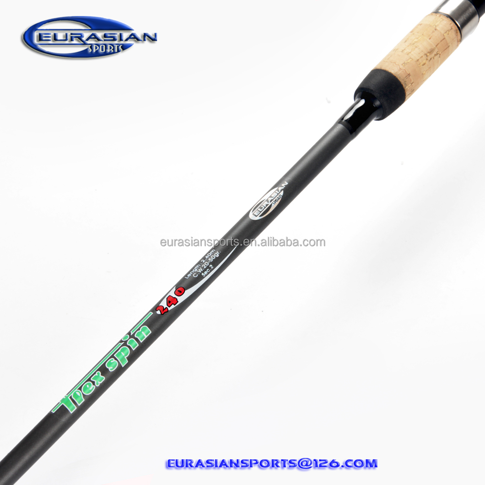 Flex spin 20-50g 2.40m 8ft put over join system cork handle cheap price glass spinning fishing rod