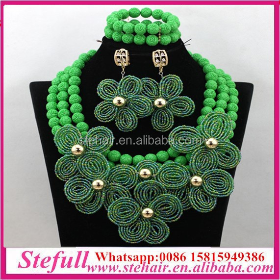 Stefull original african Jewellery fashion coral beads pearl jewelry set
