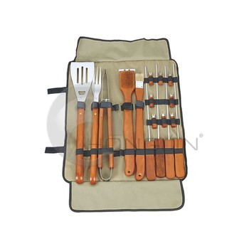 Hongjin Stainless Steel Full BBQ Tools Set with Apron Bag