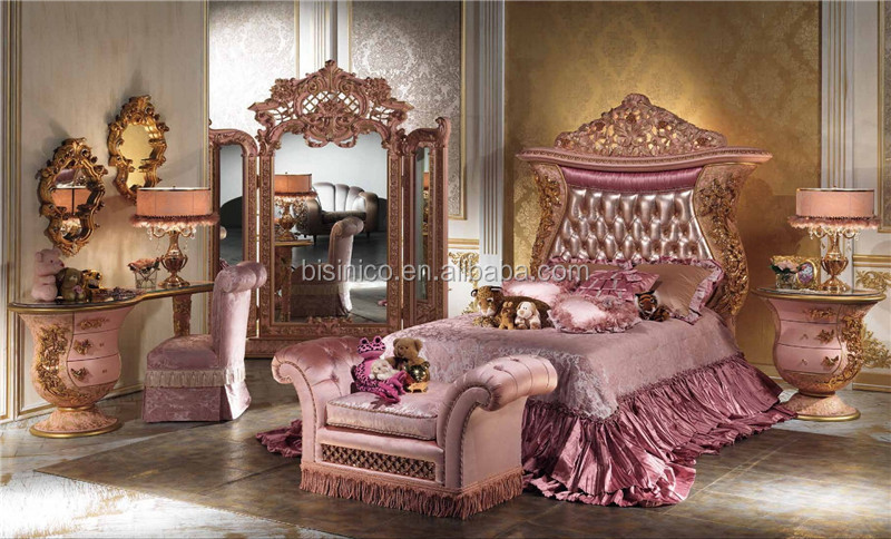 New Classic Italy Style Royal King Size Bed, Luxury Crown Poster Bed, Upholstered Headboard Wooden Bed