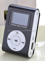 Portable Metal Clip MP3 Player LCD Screen-Black/ Blue