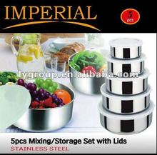 5 Pcs Stainless Steel Food Storage Container Mixing Bowl Set With Air Tight Lids