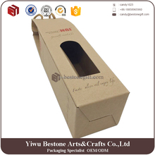 Cheap custom wine packaging corrugated single bottle wine kraft cardboard bottle carrier, wine carrier