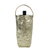 High Quality Gold Metallic Pouch Wine bag With Tan Leather Handle