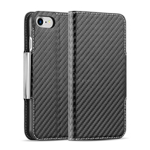 Carbon Fiber Pattern Folio Magnetic PU Leather Stand Flip Phone Case For iPhone 7