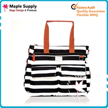 2017 High Quality Hanging Canvas Laminated Baby Diaper Bag mummy bag