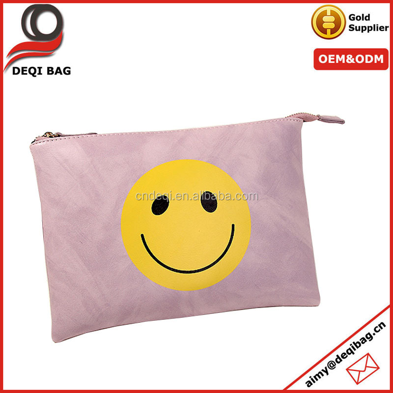 new design smile emoji pu cosmetic bag retro trendy women clutch bag hot easy-matching chain sling bag