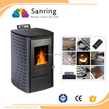 6 kw mini portable wood pellet stove with cast iron fuel bucket