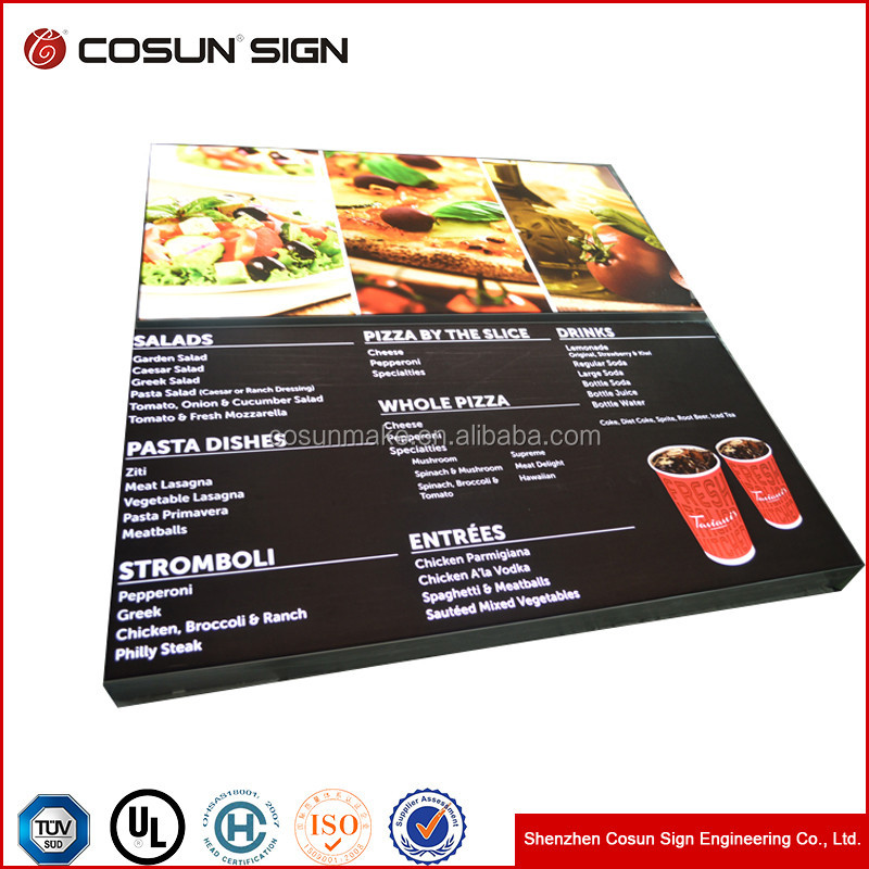 wholesale factory soft and mild light Fabric led light box menu design