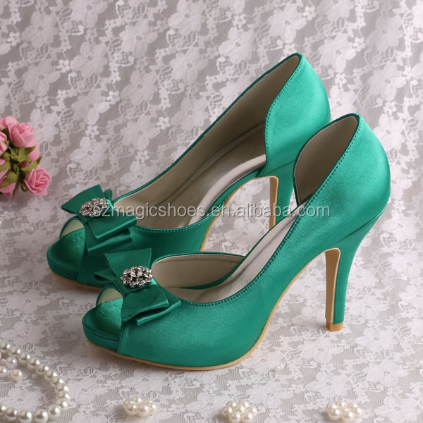 Ladies Green Satin Dress <strong>Shoes</strong> Women 4INCH