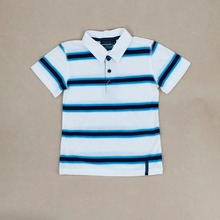 Hot sale summer 100% cotton boys striped polo neck t-shirt