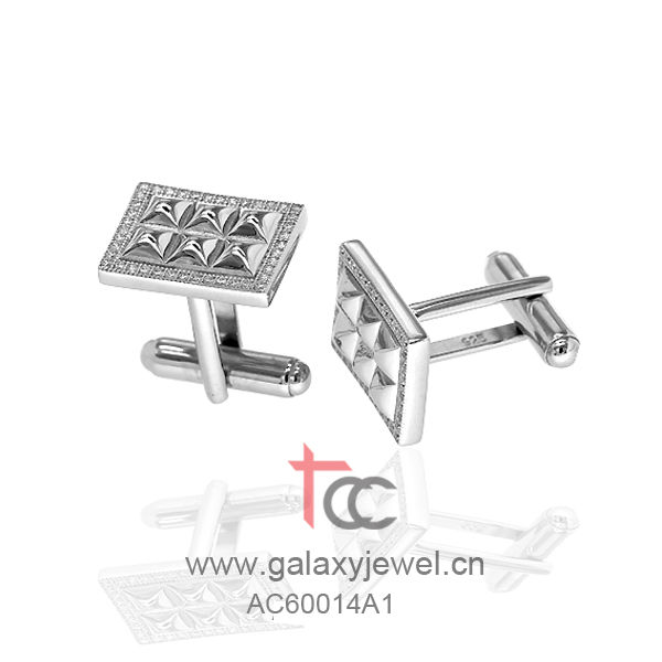 TCC micro setting 925 silver jewelry fashion clear cufflinks made with swarovski cz