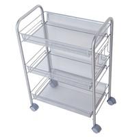 414K 3 Tier Metal Adjustable Kitchen shelf utility trolley table