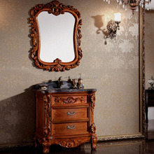 WTS3077 32 inch antique bathroom cabinet /solid wood antique brown oak cabinet and mirror