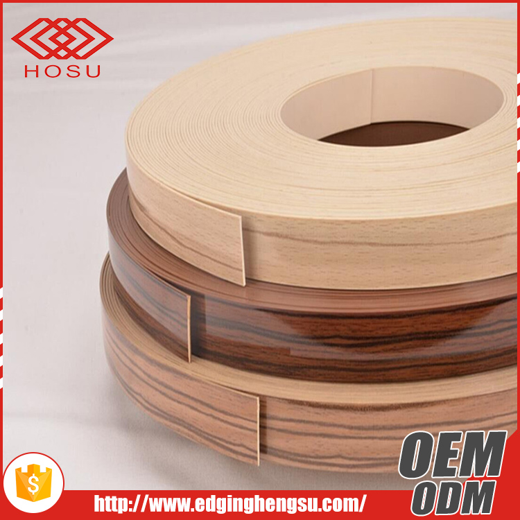 office furniture/kitchen cabinet protective wood grain high gloss plastic edging strips