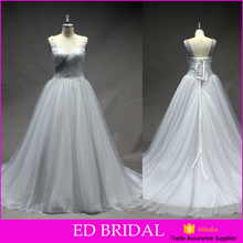 LN248 Best selling lace up back real sample tulle bridal gown silver grey wedding dresses