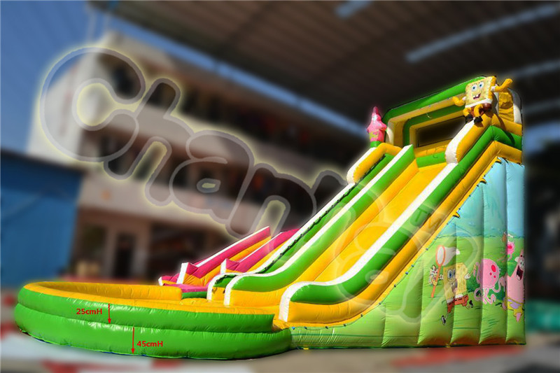 Fashional giant inflatable Sponge pop cartoon water slide for sale, inflatable water slide pool for kids and adults
