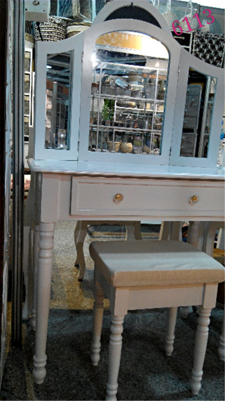 De madera maciza de maquillaje kd tocador con espejo color blanco