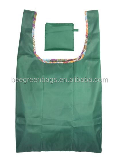 BeeGreen Eco friendly 190T polyester vest shape fold up design shopping bags