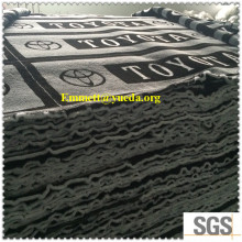 <Factory Wholesale> Toyota white letters background black/grey colour plush fur fabric for car seats covers and mats