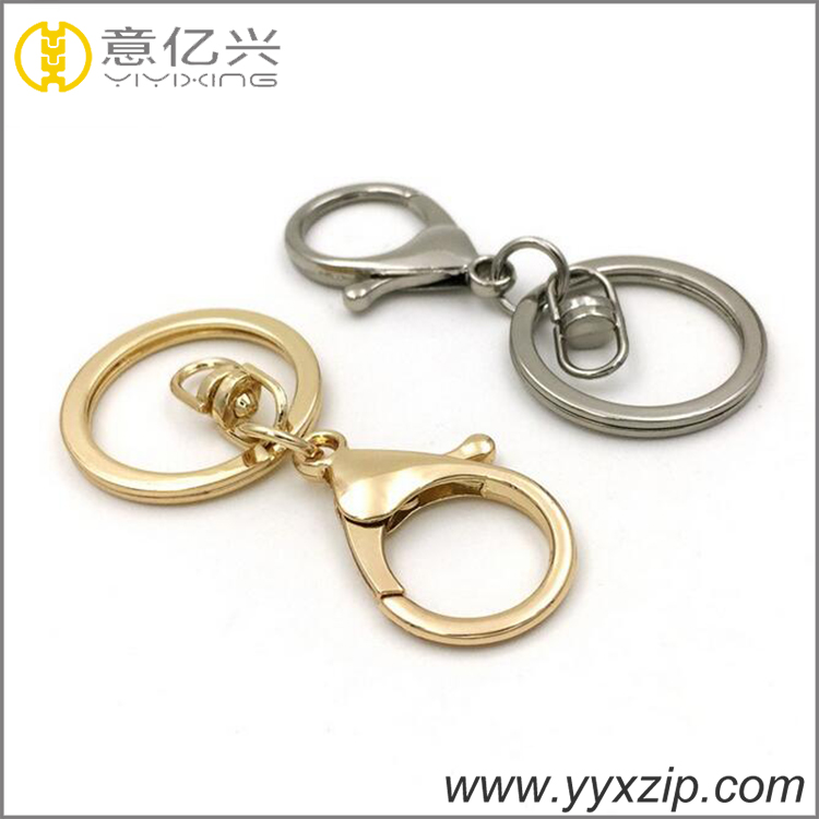 Glossy gold finish outer 30mm swivel hook lobster keychain flat key ring and clip