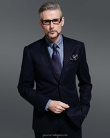Super 130's custom made 100% Wool black two buttons notch lapel office suit for men