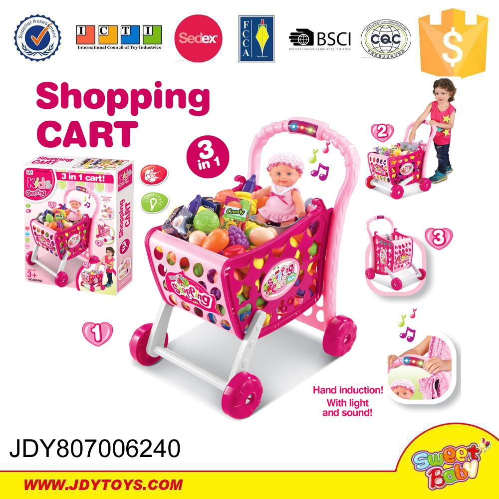 Battery operated plastic shopping cart boy shopping cart 3 in 1 hand induction with light and sound