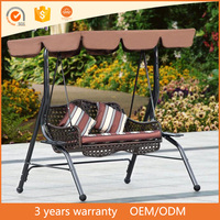 China wholesaler comfortable design outdoor furniture double chair modern rattan hanging sofa