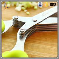 Multi-functional Stainless Steel Kitchen Knives 5 Layers Scissors Sushi Shredded Scallion Cut Scissors Cooking Tools