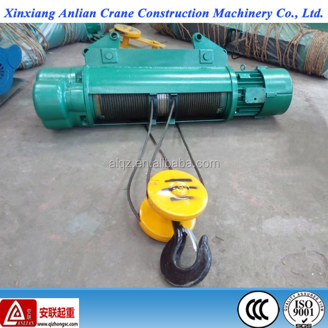 monorail electric wire rope hoist CD 1t-32t steel cable pulling hoist