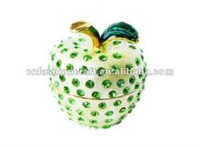 2012 Golden plated Pewter Alloy Cz Crystal Hand painted Apple Metal trinket box