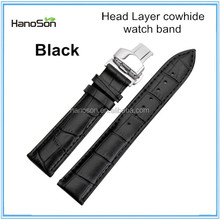 Crocodile cowhide leather watch strap with butterfly style buckle