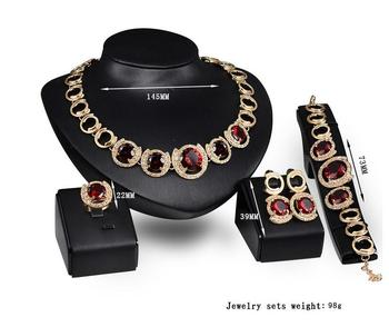 italian gold plated jewelry sets ruby ziczonia necklace ,earring ,bracelet ,ring ,sets for women's