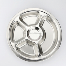 hot selling 5 compartments stainless steel round shape dinner plates fast food serving tray/Snake Plate/Dishes