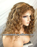 deep wave blond mixed color indian remy human hair front lace wig