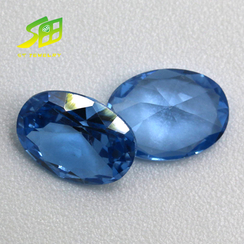 34# corundum quality oval cut synthetic blue sapphire loose gemstone