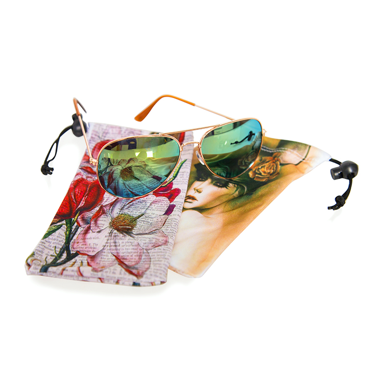 Custom printing mobile phone pouch bag/microfiber sunglasses pouch with drawstring
