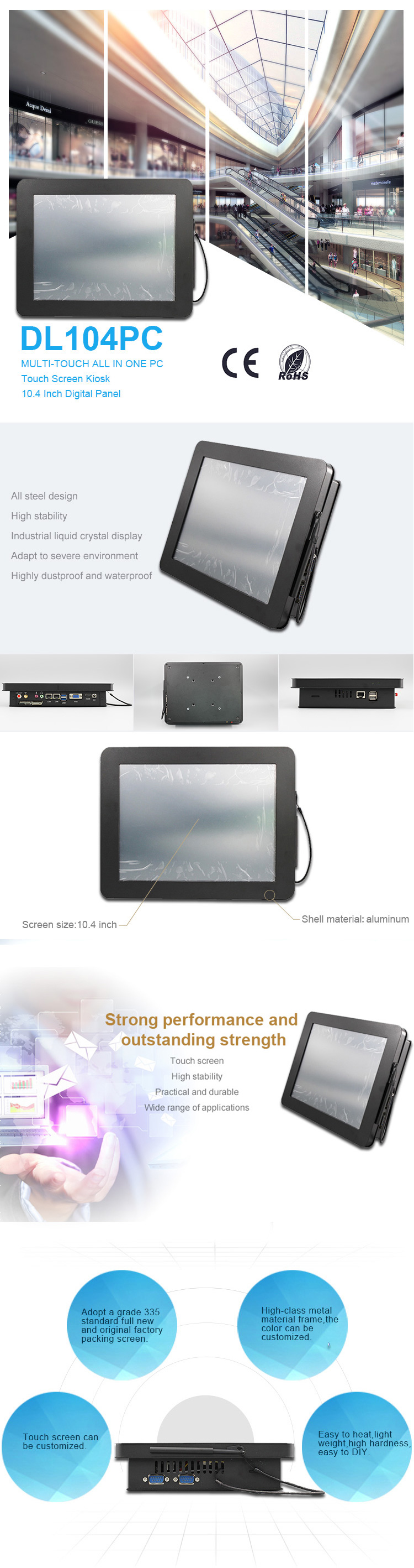 Latest slim 2.0Ghz black multi-touch 4 wire resistive industrial all in one pc with built in wifi