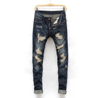 wholesale New Mens Classic Dark Blue Ripped skinny fit Jeans