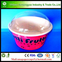 Paper Ice Cream Cup With Plastic Dome Lid